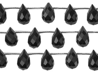 16 IN Strand 6x9 mm Black Onyx Briolette Faceted Gemstone Beads (BLABRF0609)