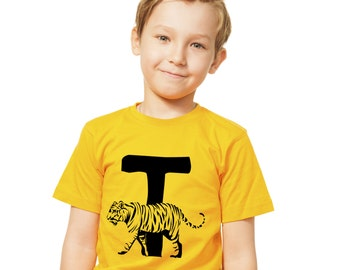 Kids T is for Tiger T-Shirt / Childrens Animal A-Z Alphabet T Shirt in Black, Grey, Pink, Yellow, Blue  Age 3-4, 5-6, 7-8, 9-11, 12-13