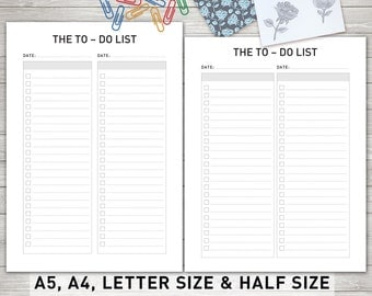 To Do List Printable, To Do Planner Inserts, To Do List Notepad, Daily To Do List, To Do List Notebook, A5, A4, Letter & Half Size