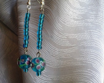 Aquamarine Earrings, lampwork and seed beads