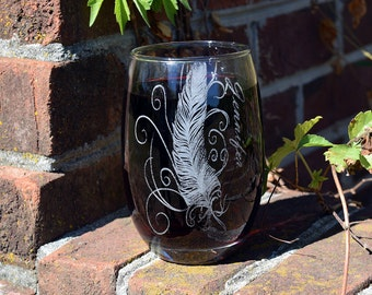Wine Glass with feather design and personalized name