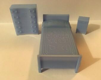 Blue Bedroom Set~vintage Allied Dollhouse Furniture plastic