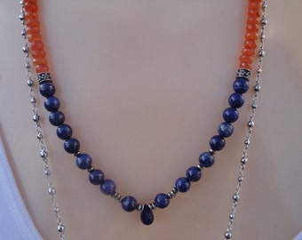 Natural blue Lapis Lazuli and Carnelian gemstone necklace