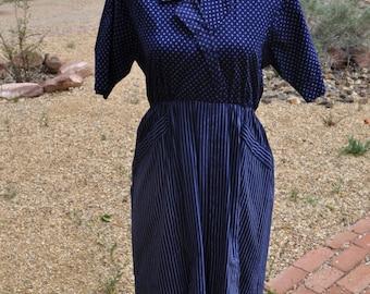 Vintage 1960s Blue Dual Patterned Dress