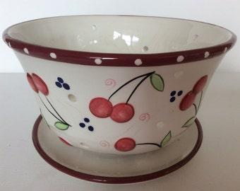 Vintage porcelain colander Bella Casa by Ganz. Vintage porcelain sieve serving bowl Bella Casa pattern by Ganz. Porcelain colander sieve.