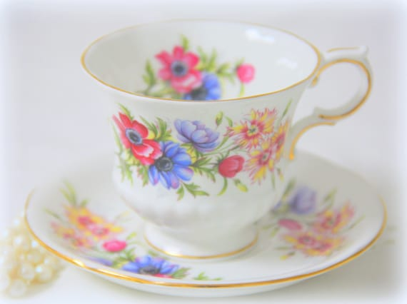 RESERVED FOR BYR Vintage Paragon 'Flower Festival' Fine Bone China Cup and Saucer, England