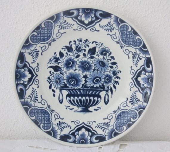Small Antique Delft Blue Wall Plate, Flower Decor, Plateelbakkerij Delft/Hilversum, Holland