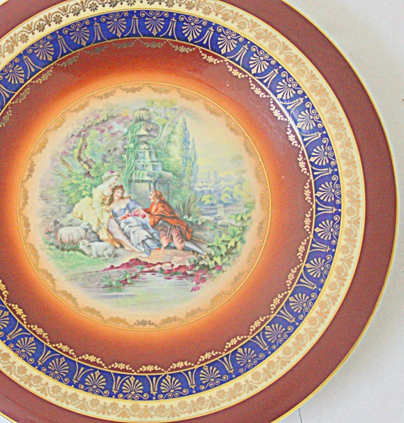 RESERVED FOR JASMINE Vintage Gloria Handpainted Large Wall Plate 'Rembrandt', Royal Vienna Style, Beehive, Fragonard Scene, Made in Germany