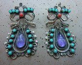 Gorgeous Rare Authentic Matl Matilde Poulat Turquoise Amethyst Coral Sterling Silver Chandelier Signed Earrings
