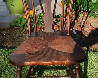 Vintage Karpen Bow Back Windsor Inspired Chair featuring Original Rush Seat