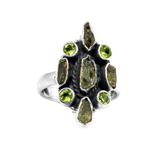 moldavite tektite and peridot genuine gemstones by