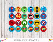 Superhero 24 Cupcake Toppers ,Party Supplies, Superhero party, Boys Birthday, Superher theme  Instant Download
