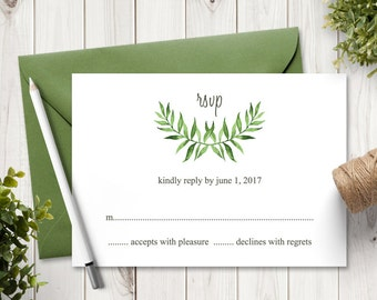 """Watercolor Wedding RSVP Card Template """"Lovely Leaves"""", Green. DIY Printable Wedding Response Cards. Editable text, MS Word. Instant Download"""