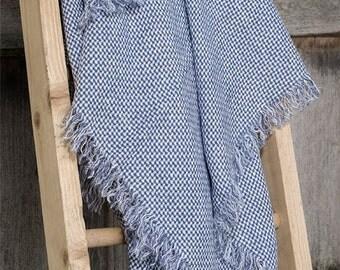 Linen Shawl, Blue, White Shawl, Warm Shawl, Women Gift