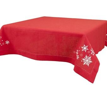 Christmas Linen Tablecloth, Red linen, Cotton table top, Linen table cover, Christmas Tablecloth
