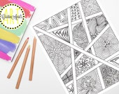 Printable Adult Coloring Book Page, Zendoodle Floral Blocks Instant Download, Hand-Drawn, Zentangle Inspired Colouring, DIY Wall Art