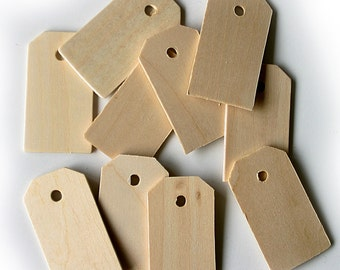 10 Wood Gift Tags ( 5.7cm H x 3.2cm W x 3mm Thick)
