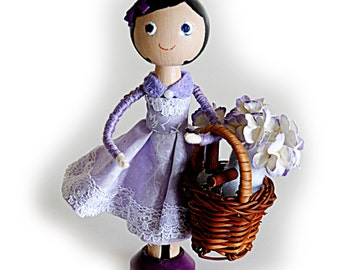 SALE Clothespin Doll with Basket of Gardening Tools and Flowers, Wood Doll, Cake Topper