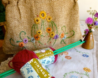 Vintage Hand Embroidered Cloth Bag with Wooden Handles