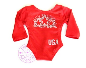 18 inch Doll Clothes - For Your All American Girl and her Doll! Doll Gymnastics Leotard - Red with Rhinestone Stars - Glitter USA