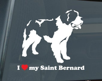I Love My Saint Bernard Die Cut Vinyl Sticker v2 st. st - 1307