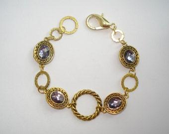"Antique Gold, Amethyst, Cut & Faceted Glass Bracelet 8"""
