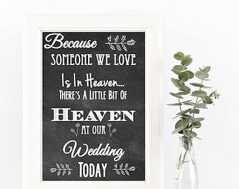 Chalkboard Loved Ones In Heaven Wedding Sign || Printable Wedding Sign || DIY