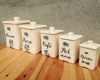 Kitchen Canisters//Canisters//canister Set//Kitchen Storage//Storage Canisters//Kitchen Storage Canisters//Set Of Five//Found And Flogged