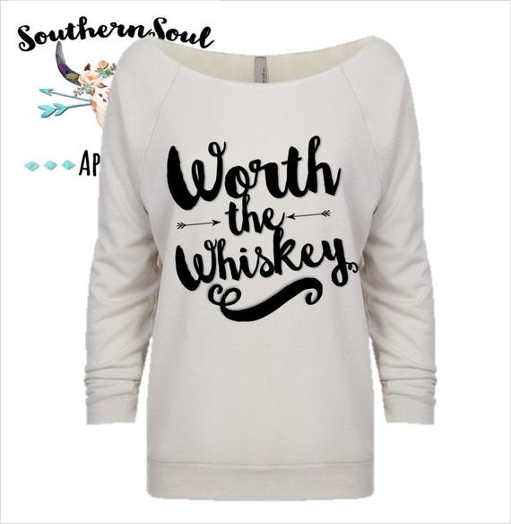 Worth The Whiskey 3/4 Sleeve Raw Edge Raglan, Long Sleeve, Country Shirt, Country T Shirt, Country Long Sleeve, Country Concert