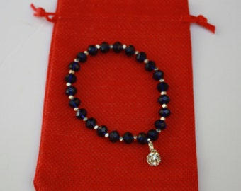 Dark Blue Faceted Crystals and Rhinestone Charm Stretch Bracelet