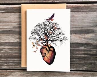 Heart Tree Birds Art Greeting Cards
