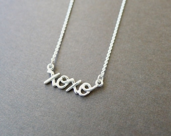 Sterling Silver XOXO Necklace, Handwritten Necklace, Love Jewelry, Hug and Kiss, XO Necklace, Gift for Mom, Push Present, Hugs and Kisses