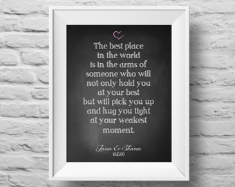 The Best Place in the World unframed Typographic poster, inspirational, self esteem, love, support, chalkboard, quote art. (R&R0119)