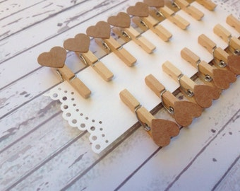 10 wooden Pegs and Heart Kraft