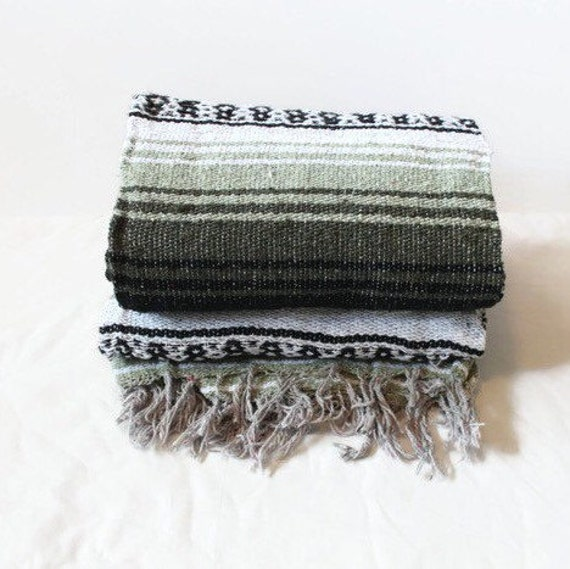 Mexican Beach Blanket: MEXICAN BLANKET // Beach Yoga Adventure Blanket Sage