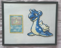 Pixel Mini Hama/Perler Bead Pokemon Lapras with Holo Fossil 1999 Card (Framed)