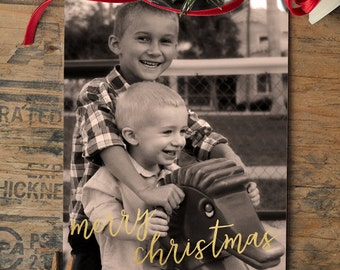 Christmas Photo Card, Gold Foil, Family Photo Holiday Card - PRINTABLE - Digital File