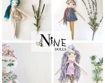 Custom Nine Doll | fabric cloth doll, yarn hair, baby toddler child girl toy, custom made doll