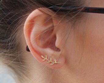 branch earings, branch ear climber, Leaves Ear Climber, Botanical Jewelry, Nature Earrings, Leaves Earrings, Silver Plated Ear Crawlers