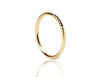 Black stone ring - Gold ring - Simple gold ring - Minimal jewellery
