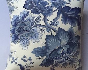 Blue Indigo & White cushion;classical elegance; large floral print