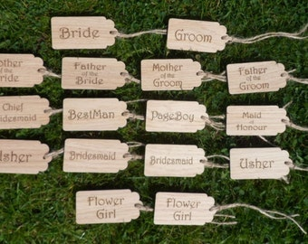 Wedding Party Oak Tags