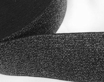 """2""""wide waistband , Black Glitter & Brown Glitter elastic, shimmery elastic Waistband Elistic"""