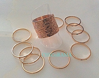 Set of 3 Rings/Engraved Pattern Rose Gold Stacking Ring Set/Dainty Ring Set/Midi Rings,Knuckle Rings,Pinky Rings/