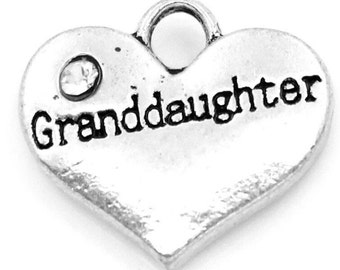 Granddaughter Heart Charm with Stone *add on* Only