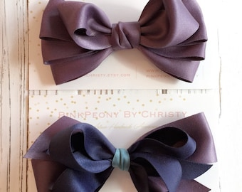 Purple hair bows-Double face matt satin bow hairclip -Dark violet with navy - viloet bows - purple bows - boutique hairbows