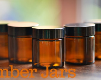 8 x 30ml Glass Amber Jars with black wadded lid