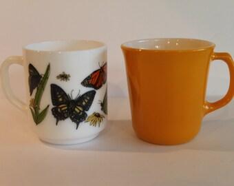 Set of 2 Vintage Milk Glass Coffee Mugs - Yellow Corning Mug - France Butterfly Mug - R. Carman