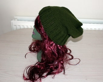 Green Knit Hat, Slouchy Beanie Hat, Slouch Hand Knit Winter Hat