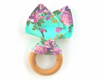 Organic teething ring - mint floral